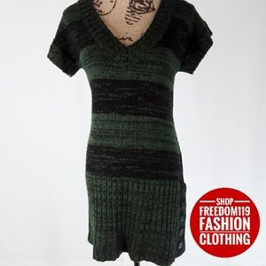 Say What? | Knit Ribbed V Neck Sweater Dress (L)